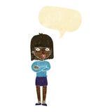 ungeduldig Frau der Karikatur mit Spracheblase Lizenzfreie Stockfotografie