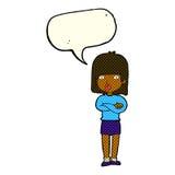 ungeduldig Frau der Karikatur mit Spracheblase Lizenzfreies Stockfoto