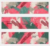 Ungefärligt utdragen uppsättning för baner för gräsplan för maskrosblommarosa färger royaltyfri illustrationer
