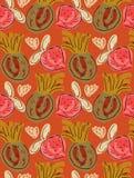 Ungefärligt utdragna jordgubbar och ananors på apelsinen Royaltyfria Bilder