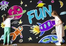 Ungefantasiutrymme Rocket Joyful Graphic Concept Fotografering för Bildbyråer