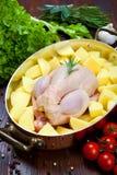 Ungekocht - Huhn mit Gemüse Stockfotos