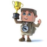 ungen för utforskaren 3d segrar den guld- trofén Arkivbild
