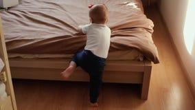 Ungen försöker att klättra på en vuxen säng vid honom stock video