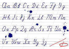 Ungenaues Handschriftsalphabet Stockfotografie