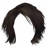 Ungepflegtes kare Haare der modischen Frau mit Franse dunkelbraune Brunettefarbe mittlere Länge Zwei dekorative Fahnen vektor abbildung