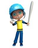 Ungepojke med det grundbollen och slagträet Royaltyfri Bild