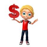 Ungepojke med dollaren Fotografering för Bildbyråer