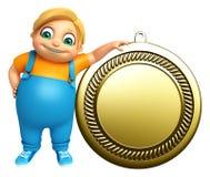 Ungepojke med medaljen Arkivbild