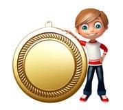 Ungepojke med medaljen Fotografering för Bildbyråer