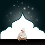 ungepojken läste helig quranqoranislam i moské royaltyfri illustrationer