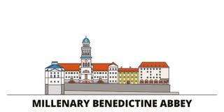 Ungern för gränsmärkevektor för Millenary Benedictine abbotskloster plan illustration Ungern Millenary Benedictine abbotsklosterl stock illustrationer