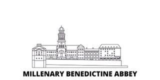 Ungern Millenary Benedictine abbotsklosterlinje lopphorisontuppsättning Ungern Millenary Benedictine vektor för abbotsklosteröver vektor illustrationer
