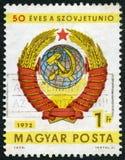 UNGERN - 1972: showarmar av Sovjetunionen, 50th årsdag av Sovjetunionen Arkivbild