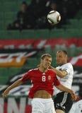 Ungern vs den vänliga fotbollleken för Tyskland royaltyfria bilder