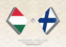 Ungern vs Finland, liga C, grupp 2 Europa fotbollcompetiti Stock Illustrationer
