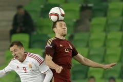 Ungern vs Ryssland vänskapsmatchfotbollsmatch Arkivbild