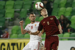 Ungern vs Ryssland vänskapsmatchfotbollsmatch Arkivfoton