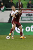 Ungern vs Ryssland vänskapsmatchfotbollsmatch Royaltyfri Foto