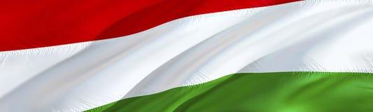 Ungernflagga vinkande flaggadesign för tolkning 3D Det nationella symbolet av ungrare vinkande design för tecken 3D Vinkande teck arkivbilder