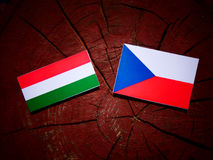 Ungersk flagga med den tjeckiska flaggan på en trädstubbe Arkivfoton
