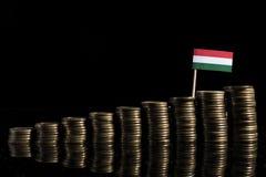 Ungersk flagga med lotten av mynt som isoleras på svart Arkivbilder