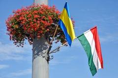 Ungersk flagga och blommor på en pol Fotografering för Bildbyråer