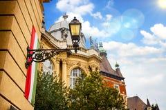 Ungersk flagga på den Vajdahunyad slotten Royaltyfri Fotografi