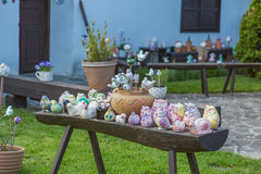 Ungersk handgjord keramik i byn Tihany Fotografering för Bildbyråer