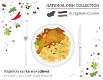 Ungersk kokkonst Europeisk nationell maträttsamling Fegt PA vektor illustrationer