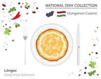Ungersk kokkonst Europeisk nationell maträttsamling Friterat stock illustrationer