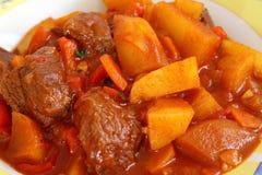 Ungersk maträtt för gulasch (nötkött, potatis, paprika och grönsaker) royaltyfri bild