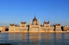 Ungersk parlamentbyggnad på Danubet River i Budapest Fotografering för Bildbyråer