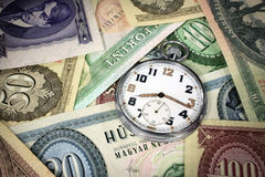 Ungersk tid är pengarrovan Arkivfoto