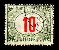Ungerska Kir Posta, förfallen serie för porto, circa 1915 Royaltyfri Bild