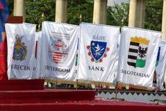 ungerska stadsflaggor Arkivfoto