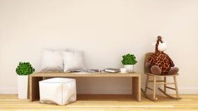Ungerum eller bosatt room--3dtolkning Arkivfoton