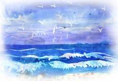Unges aquarelleteckning av marina Arkivfoton