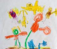 Unges målning av samspelt fantasi för barnlek Arkivfoto