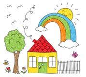 Unges teckning av ett hus, en regnbåge och ett träd Royaltyfri Bild