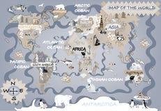 Unges världskarta Royaltyfri Fotografi