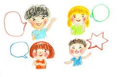Ungesamtal och bubblor, olje- illustration för pastellfärgad teckning vektor illustrationer