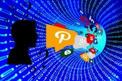 Ungeschütztes Entweichen von privaten Informationen über sozialen Netzwerken stockfoto