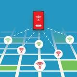 Ungesichertes allgemeines drahtloses Krisenherd-Design mit Straßenkarte - Wifi-Sicherheitsbrüche, Geschäfts-Internetkriminalitäts Lizenzfreies Stockbild