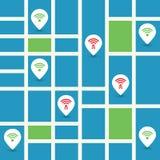 Ungesichertes allgemeines drahtloses Krisenherd-Design mit Straßenkarte - Wifi-Sicherheitsbrüche, Geschäfts-Internetkriminalitäts Stockbilder