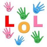 Ungeskrattet visar ungdom som skrattar och, skrattar stock illustrationer