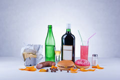Ungesunde Nahrungsmittel lizenzfreie stockfotografie