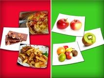 Ungesunde und gesunde Nahrung Stockbild