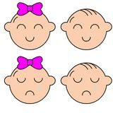 Ungesymboler upps?ttning, pojkar och flickor, barnsymboler, vektorillustration vektor illustrationer