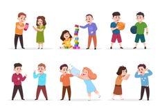 Ungeuppförande Dåliga pojkar och flickor som konfronterar och trakasserar mindre barn Bra vänliga ungar spelar tillsammans vektor stock illustrationer
